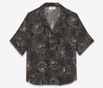 Kurzärmeliges Hemd mit Hai-Kragen aus Viskose-Georgette mit gepunktetem Spiralmuster