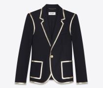 blazer aus schwarzem wollgabardine und goldfarbenem leder