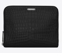id tablet-etui aus schwarzem leder mit krokodillederprägung und reißverschluss