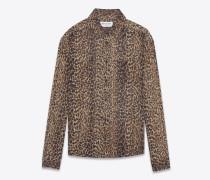 bluse aus schwarzem und braunem etamin mit leopardenprint