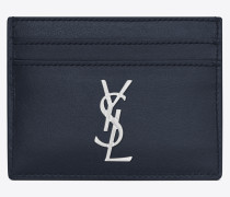 Monogram card case in shiny leather