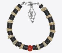 tribal armband aus perlmutt, gorgonien-korallen und silberfarbenem messing