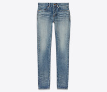 low-waisted skinny jeans in dark used blue