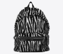 City Rucksack aus schwarz-weißem Zebrajacquard
