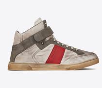 Max halbhoher Sneaker aus silberfarbenem, satiniertem Nylon und rotem Leder mit Klettverschluss