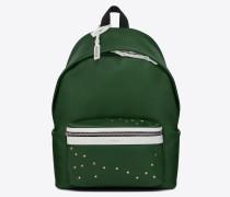 City Rucksack aus dunkelgrünem und weißem Leder