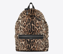City backpack in black and beige ocelot-look calfskin
