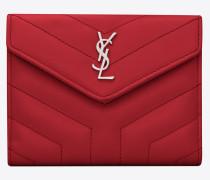 Kompaktes LOULOU Portemonnaie aus rotglänzendem Lackleder mit Steppnähten