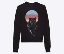 panther-pullover aus schwarzem mohair