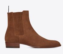 Wyatt 30 Chelsea-Stiefel aus holzbraunem Veloursleder