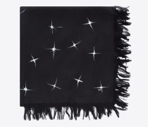 Schal aus schwarzer und elfenbeinfarbener, gesponnener Seide mit Sternschnuppenprint