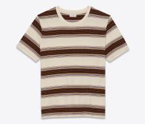 T-Shirt aus Jersey mit beigen, khakifarbenen und violetten Streifen