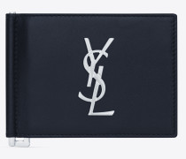 Monogram wallet with bill clip in shiny leather