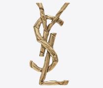 Monogramme Brosche aus hellgoldfarbenem Metall mit drapierter Schnalle