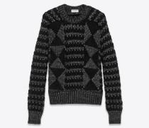 Gemusterter Pullover aus schwarzem und silberfarbenem Lurex