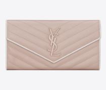 großes portemonnaie aus pinkem und weißem leder mit steppnähten und struktur sowie klappe