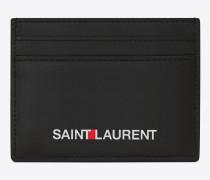kreditkartenetui in schwarz mit saint laurent-signaturprägung
