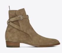 signature wyatt 30 jodhpur boot in beige suede