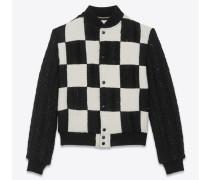 Teddy-Jacke aus schwarzem und weißem Tweed mit Karomuster