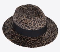 Fedora in leopard-print felt
