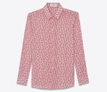 Shirt in crepe de chine printed with stars