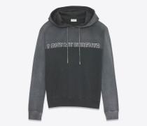 """""""love me forever or never"""" kapuzensweater aus verwaschen dunkelgrauem und schwarzem frottee"""