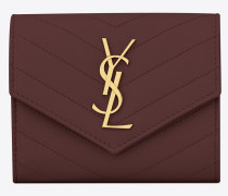 Compact tri-fold Monogram wallet in burgundy textured and quilted leather