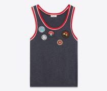 top aus anthrazitgrauem jersey mit patches