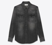 Gerade geschnittenes Hemd aus schwarzem Vintage-Denim mit Dirty-Medium-Waschung