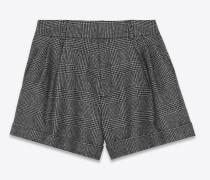 Shorts in schwarz-grauem Glencheck-Muster
