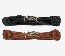 Opyum Armbänder aus schwarzen und braunen Wachskordeln