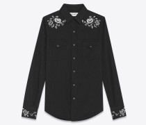 Western-style denim shirt with rose embroidery