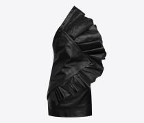 asymmetrisches, trägerloses minikleid aus schwarz glänzendem leder mit rüschen