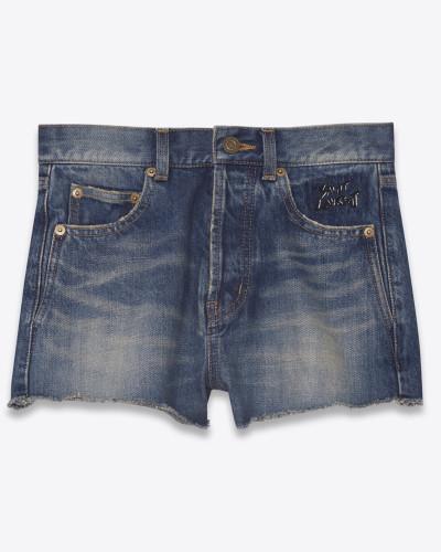 slim-fit-shorts aus ausgebleichtem blauem denim mit stickerei