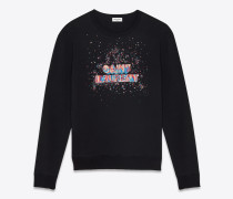 sweatshirt aus schwarzem baumwollfleece mit saint laurent-neonstickerei