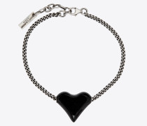 Bracelet with heart charm in brass and enamel