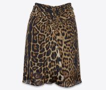 geraffter minirock aus seidengeorgette mit leopardenprint