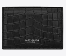 business card case in crocodile embossed leather