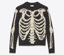 Skelett-Pullover aus schwarzem und grauem Jacquardstrick