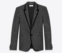 Langes Sakko aus schwarzem und silberfarbenem Tweed mit Glitzerverzierung