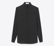 hemd aus schwarzer und elfenbeinfarbener seide mit aufgedrucktem mikropunktmuster und paris-kragen