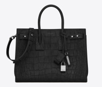 Kleine, weiche Sac de Jour Tasche aus schwarzem Veloursleder mit Krokodillederprägung
