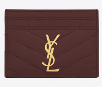 Monogram card holder in textured and quilted leather