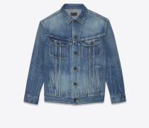 oversize-jeansjacke aus blauem denim
