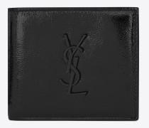 saint laurent east/west portemonnaie aus schwarzem lackleder