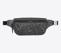 Gürteltasche aus schwarzem Metallic-Glitzer