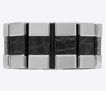 chaînes gliederarmband aus schwarzem alligatorenleder und silberfarbenem metall