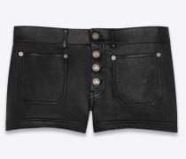 Shorts mit hohem Bund aus Lammleder mit aufgesetzten Taschen