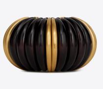 Mandarinenarmreif aus braunem Holz und goldfarbenem Metall