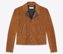 Kurze Jacke aus Wildleder und Leder im Vintage-Stil